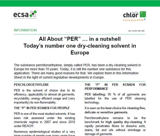 New updated ECSA Infosheet on perchloroethylene now available