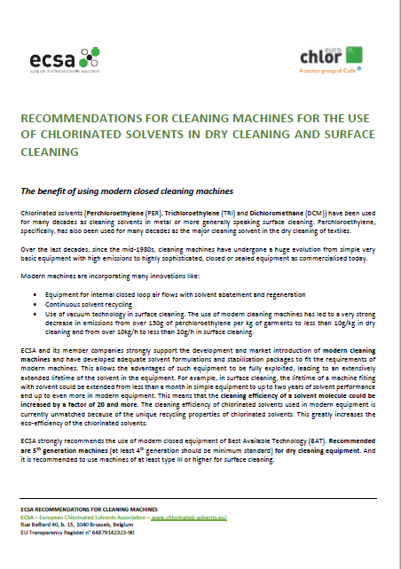 ECSA Recommendations for Cleaning Machines for the use of chlorinated solvents now updated